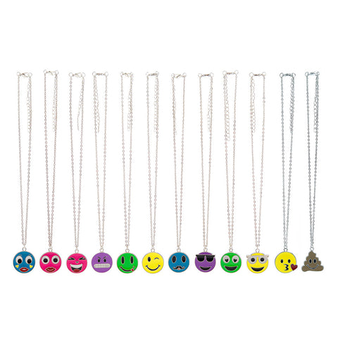 CRM1997N Emoticons Faces Silver Chain Necklace - 12 Pc Pack Unit