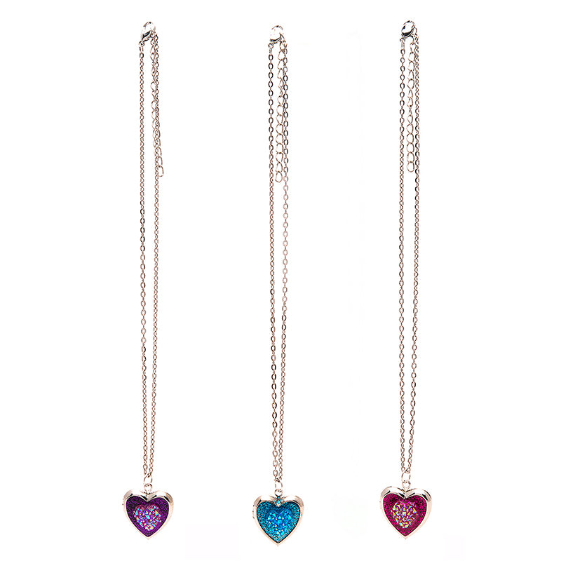 CRM2154N Stone Heart Glitter Locket Chain Necklace - 12 Pc Pack Unit