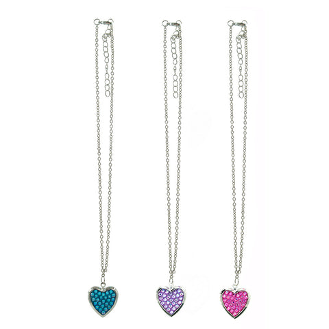 CRM2236N Rhinestone Pave Heart Locket Chain Necklace - 12 Pc Pack Unit