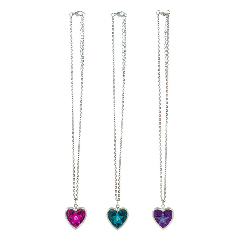 CRM2238N Star/Flower Glitter Heart Locket Chain Necklace - 12 Pc Pack Unit
