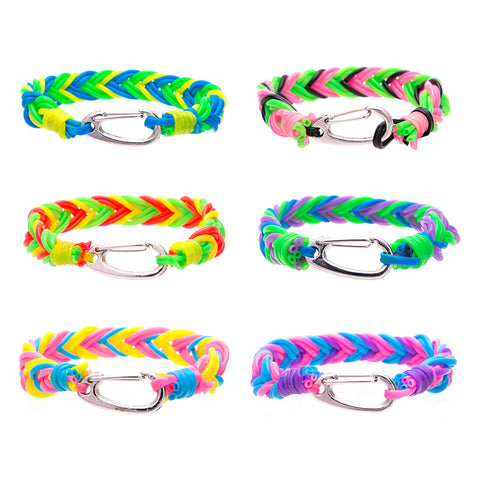 CRP1721TBX Assorted Neon Braid Bracelets with Silver Clasp Tub - 36 Pcs Tub