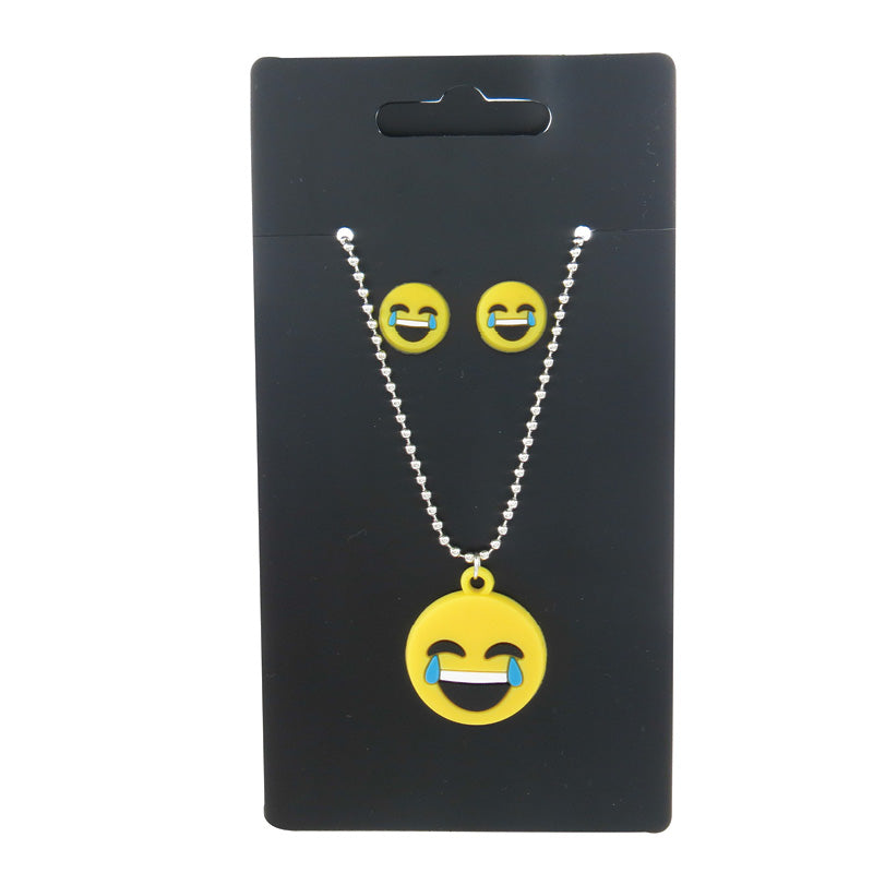 CRP2329NE Set Of 2 Emoji Necklace And Earring - 12 Sets Unit