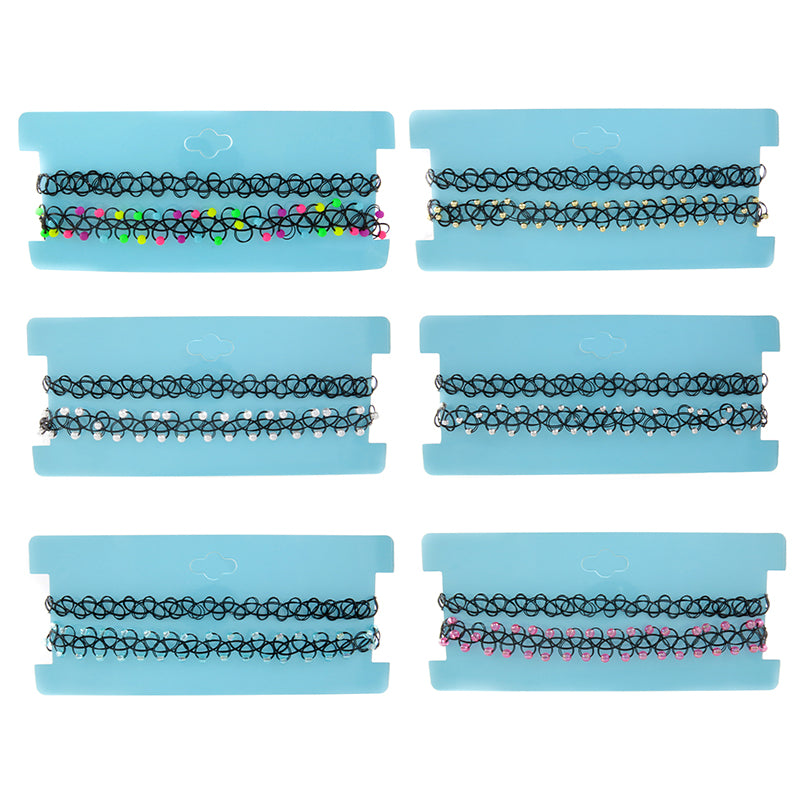 CRP2385N Set of 2 Stretch Woven And Beaded Chokers - 12 Sets Pack Unit