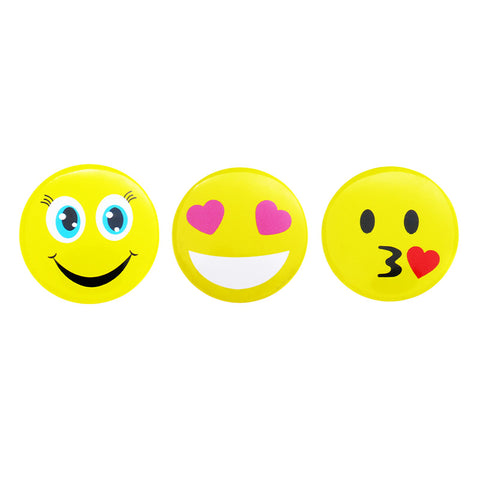 DP1001P-1 Trio Smile, Heart Eyes, Kiss Emoji Deco Button Pins 3 Sets Pack Unit