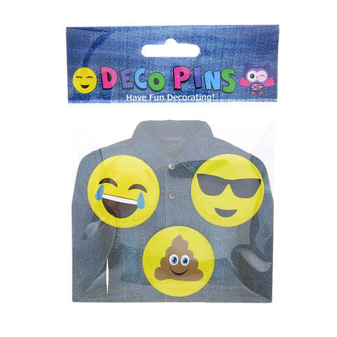 DP1002P-1 Trio Poop, Sunglasses, Laugh Emoji Deco Button Pins 3 Sets Pack Unit