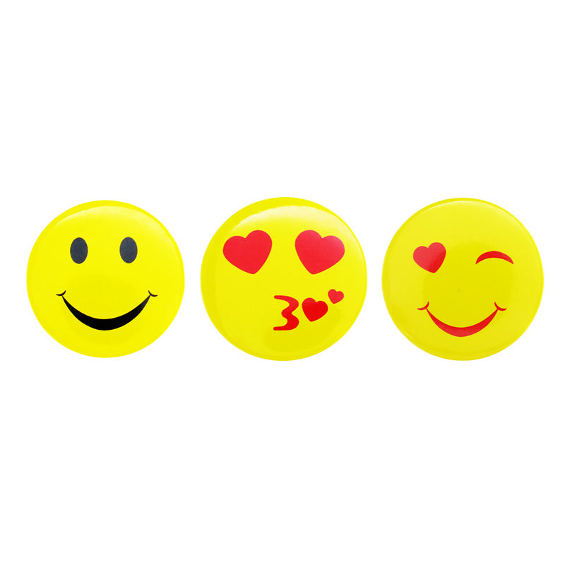 DP1003P-1 Trio Smile, Kiss,Wink Emoji Deco Button Pins 3 Sets Pack Unit