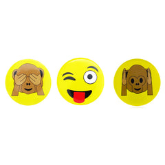DP1004P-1 Trio Monkey see, Tongue, Monkey hear Emoji Deco Button Pins 3 Sets Pack Unit