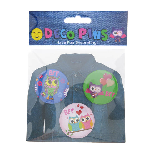 DP1020P-1 Trio BFF Owl Critter Deco Button Pins 3 Sets Pack Unit