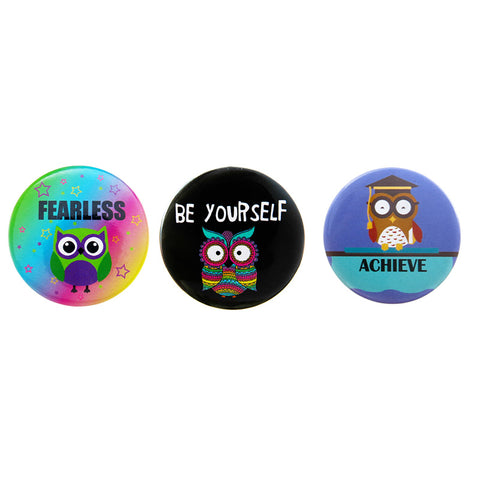 DP1021P-1 Trio Owl Positive Message Critter Deco Button Pins