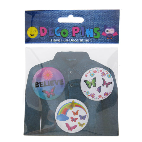 DP1030P-1 Trio Butterfly Critter Deco Button Pins
