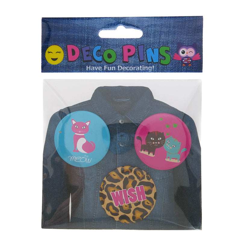 DP1060P-1 Trio Kitty Critter Deco Button Pins 3 Sets Pack Unit