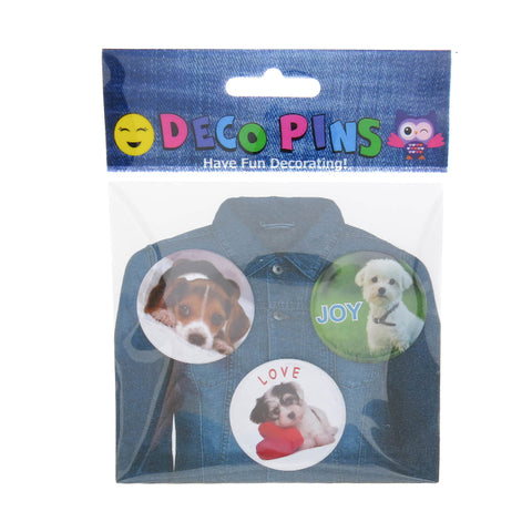 DP1200P-1 Trio Puppy Deco Button Pins 3 Sets Pack Unit