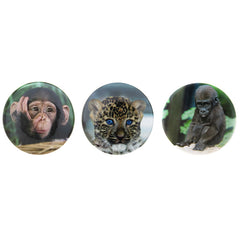 DP1220P-1 Trio Wild Animal Photoreal  Deco Button Pins 3 Sets Pack Unit