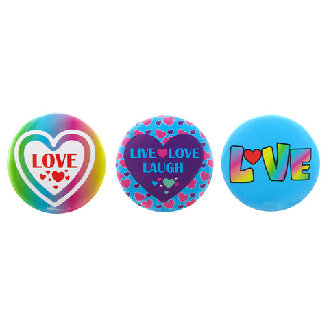 DP1300P-1 Trio Love Deco Button Pins 3 Sets Pack Unit