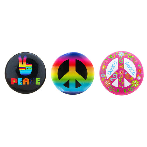 DP1310P-1 Trio Peace Deco Button Pins 3 Sets Pack Unit