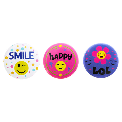 DP1350P-1 Trio Smile Deco Button Pins 3 Sets Pack Unit
