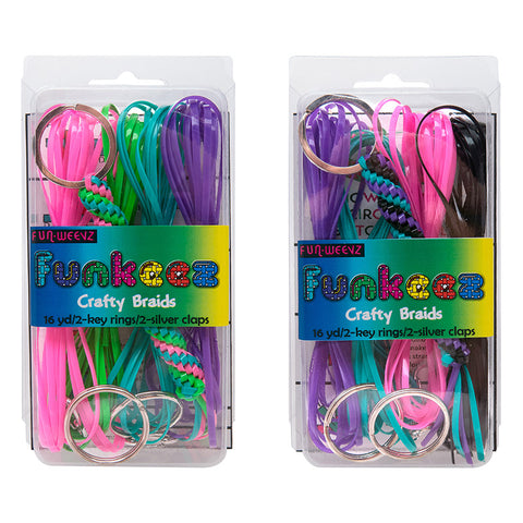 DY512 Funkeez DIY Flat Cord Crafty Braid Kit With Round Key Ring - 12 kits Pack Unit