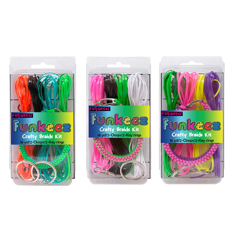 DY515 Funkeez DIY Flat Cord Crafty Braid Kit With Square Braid Bracelet - 12 kits Pack Unit