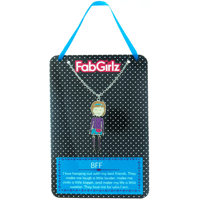 "FG105N ""BFF"" FabGirlz Collectible Movable Pendant Necklace"