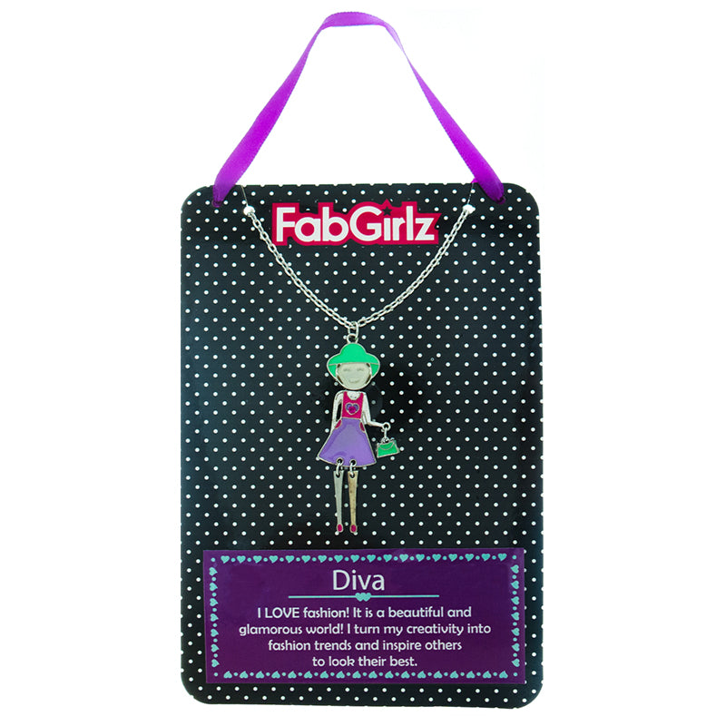 "FG107N ""Diva"" FabGirlz Collectible Movable Pendant Necklace"