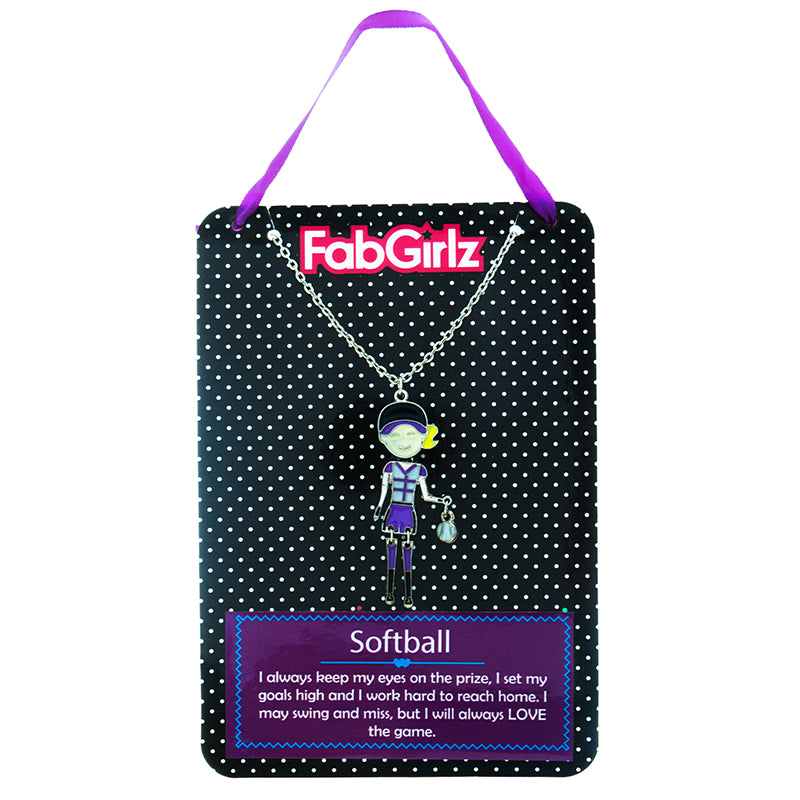 "FG114N ""Softball"" FabGirlz Collectible Movable Pendant Necklace"