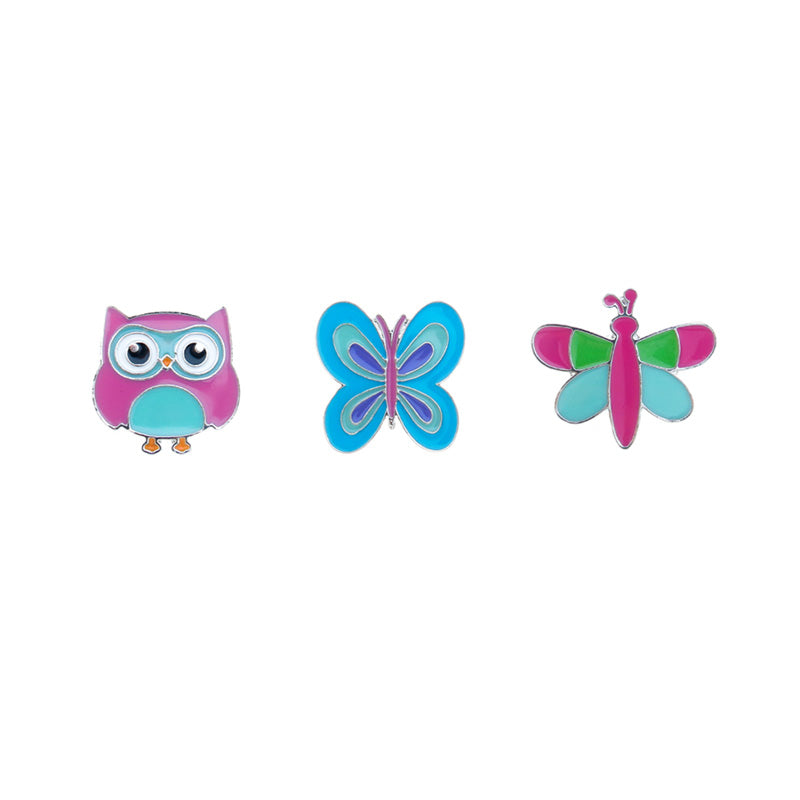 FT122P-1 Trio Owl, Butterfly, Dragonfly Tack Deco Pins 6 Sets Pack Unit