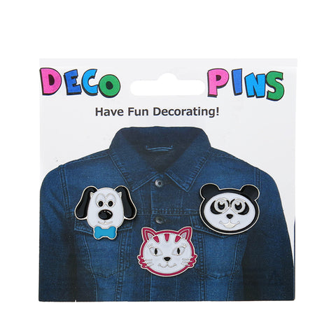 FT130P-1 Trio Cat, Panda, Dog Tack Deco Pins 6 Sets Pack Unit