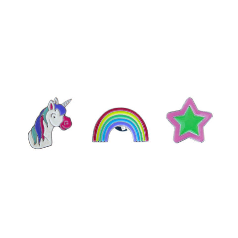 FT131P-1 Trio Unicorn, Rainbow, Star Tack Deco Pins 6 Sets Pack Unit