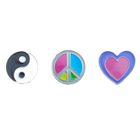FT141P-1 Trio Ying-Yang, Peace, Heart Tack Deco Pins 6 Sets Pack Unit
