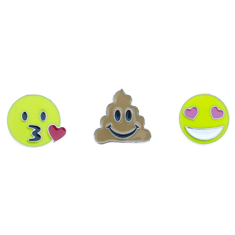 FT151P-1 Trio Emoji Kiss, Poop, Heart Eyes Tack Deco Pins 6 Sets Pack Unit