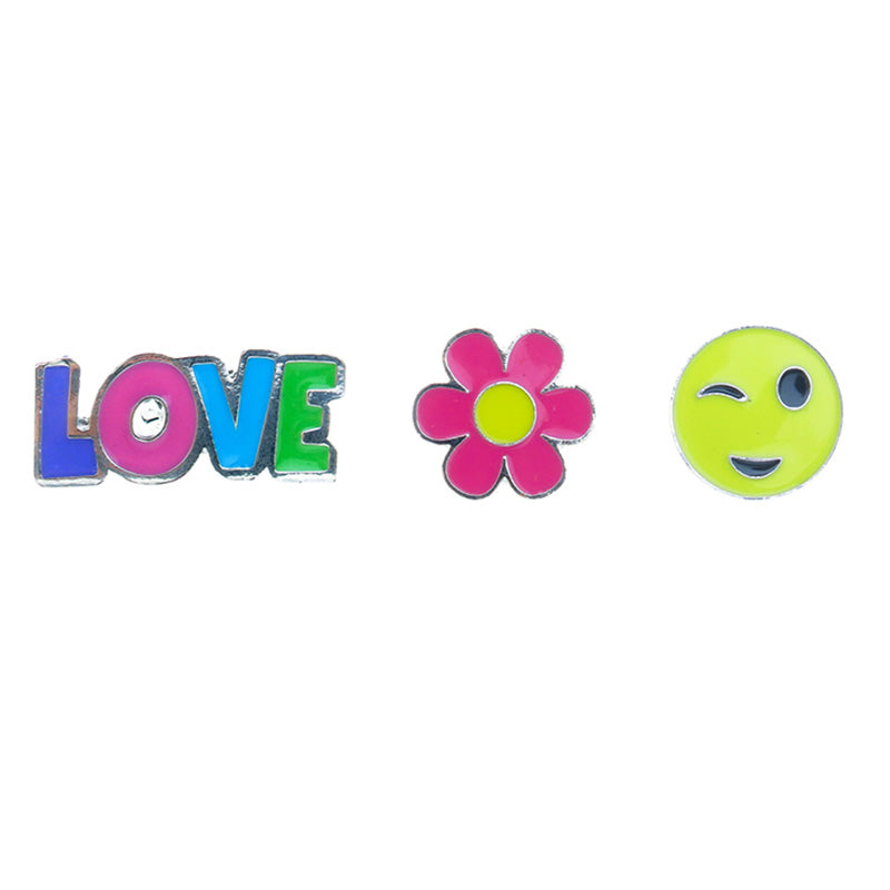 FT152P-1 Trio Love, Daisy, Wink Emoji Tack Deco Pins 6 Sets Pack Unit