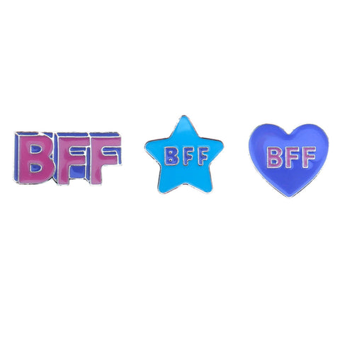 FT162P-1 Trio BFF, Heart, Star Tack Deco Pins 6 Sets Pack Unit
