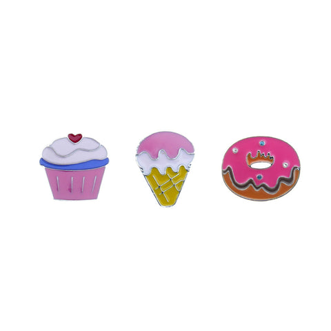 FT170P-1 Trio Cupcake, Ice cream, Donut Tack Deco Pins 6 Sets Pack Unit
