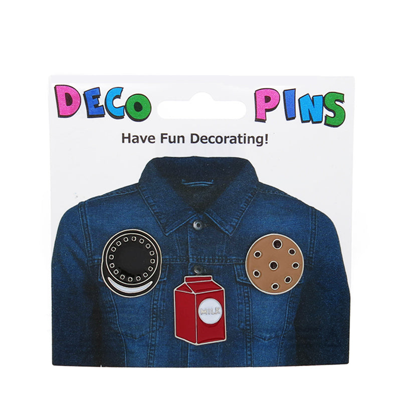 FT173P-1 Trio Cookies and Milk Tack Deco Pins 6 Sets Pack Unit