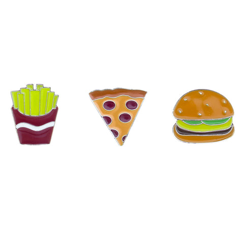 FT181P-1 Trio Fries, Pizza, Burger Tack Deco Pins 6 Sets Pack Unit