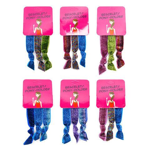 HR295PH Heavy Glitter Pony Holder Bracelet - 12 Trio Pack Unit