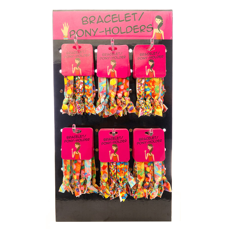HR366PH Candy Photo Real Printed Pony Holder Bracelet - 12 Trio Pack Unit Or 36 Trios Display