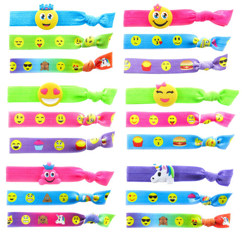 HR388PH Emoji Charm And Printed Bracelet Pony Holders - 12 Sets Unit