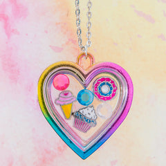 FP105N Rainbow Heart Fantasy Magnet Story Locket Necklaces - 6 Pc Pack Unit