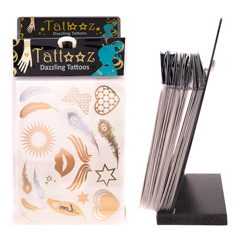TT101DX-72 Temporary Metallic flashy Gold and Silver Tattoos Display - 72 Pcs Display