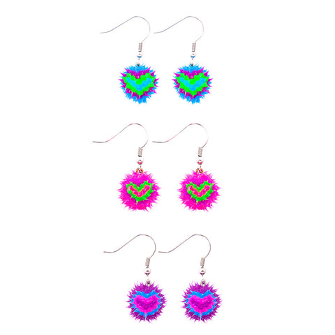 SIL1043E Spiky Heart Silicone Ball Dangle Earrings - 12 pairs Pack Unit