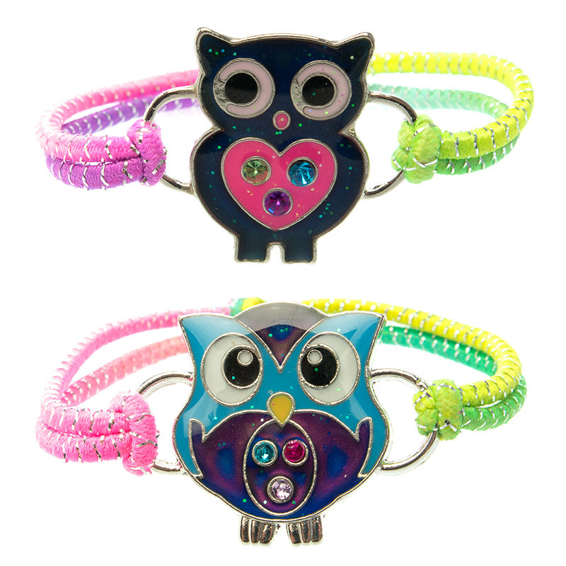 MD224B-1X Mood Glitter Owl Multi Stretch Lurex Bracelet - 12 Pc Pack Unit