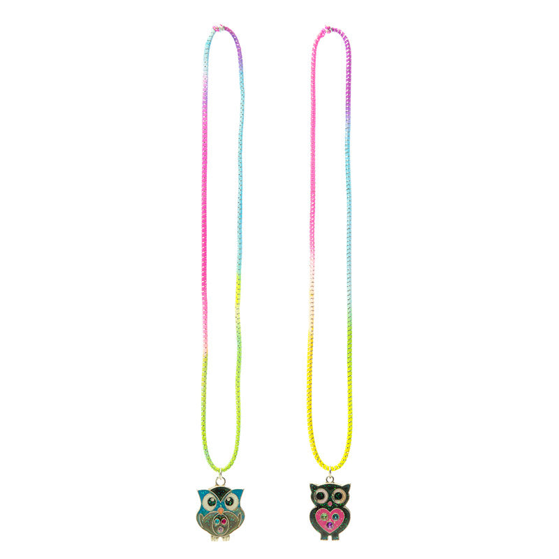 MD224N-1X Mood Glitter Owl Necklace - 12 Pc Pack Unit