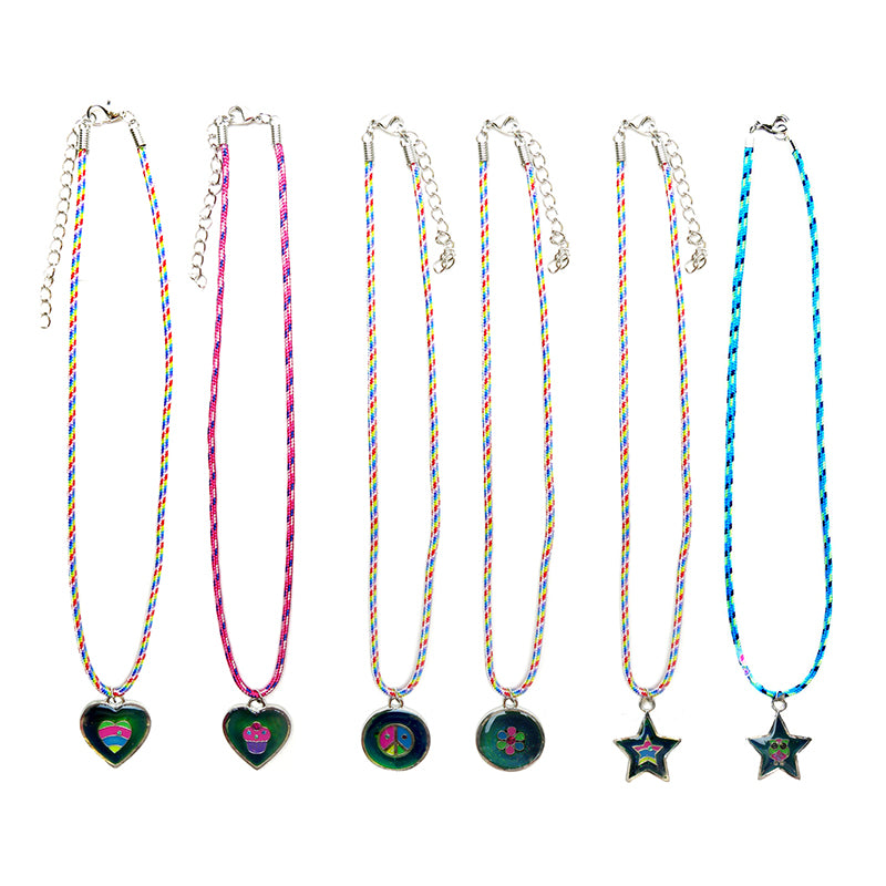 MD232N Mood Pendant With Glitter On Printed Paracord Necklace - 12 Pc Pack Unit