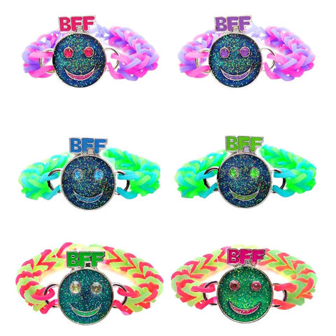 MD291B Set of 2 Mood Smiley BFF Charms With Glitter On Fishtail Bracelets - 12 Sets Pack Unit