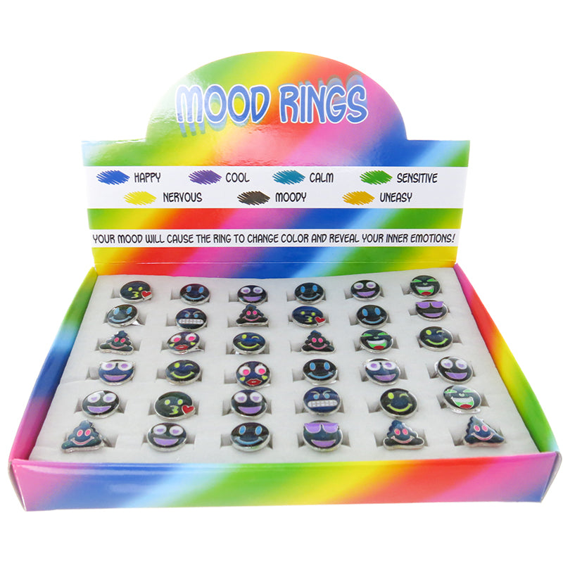 MD334DR Emoticons Mood Faces Adjustable Ring - 36 pcs Tray Unit