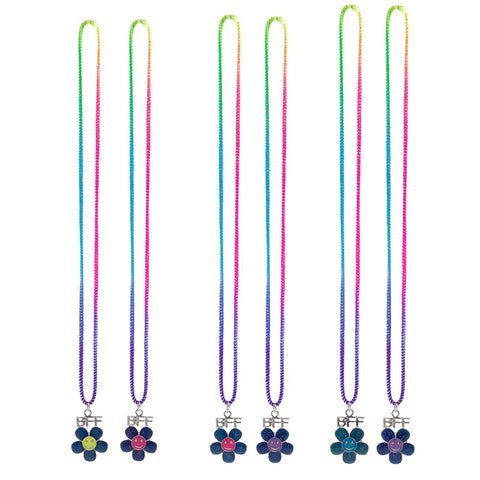 MD364N Set of 2 BFF Mood Smile Daisy Stretch Necklaces - 12 Sets Assorted