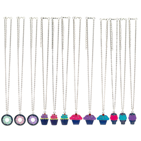 MD365N Mood Dessert Glitter Chain Necklace 12 Pcs Pre-Pack