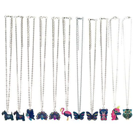 MD366N Mood Glitter Critter Chain Necklace 12 Pcs Pre-Pack