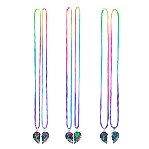 MD377N Set of 2 Best Friends Broken Heart Stretch Necklaces - 12 Sets Assorted
